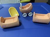 Little Tikes Dollhouse Vintage Nursery Set Car seat  Cradle & Baby Stroller