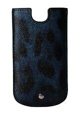 Nuevo Dolce & Gabbana Funda para Teléfono Azul Diseño de Leopardo Logo Cuero