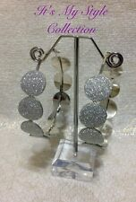 CHRISTMAS SILVER GLITTER  LARGE HOOP EARRINGS SIZE 60mm MIXED METALS