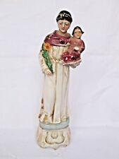 Antique Vintage St Anthony of Padua Germany Porcelain Christian Statue Figurine