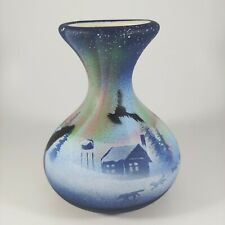 "HANDMADE 4.5"" Small Northern Lights Art Vase Blue Signed CEDAR MESA POTTERY"