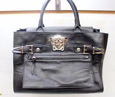 Versace Palazzo Large Black Leather Shoulder Bag Handbag