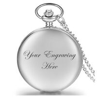 Personalised Silver Pocket Watch and Chain Wedding Valentine's Birthday style1
