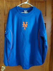 New York Mets MLB  Authentic MAJESTIC Therma Base Tech Fleece SWEATSHIRT Mens XL