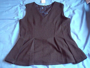 BLACK V-NECK DRESSY TOP WITH FLARED HEM AND LACE INSET NEW AND TAGGED