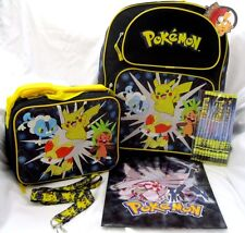 "Pokemon Pikachu 16"" Backpack,lunchbox,Pokemon Pencils,Pokemon Lanyard, & Folder4"