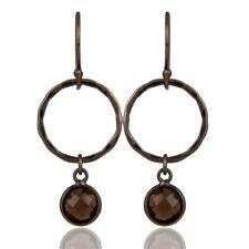 Smoky Topaz Black Oxidized Round Design Brass Dangle Earrings Fashion Jewelry