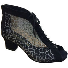 Women Exercise Latin Dance Shoes Black Nubuck Silver pattern Mesh Practice Boots