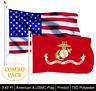WHOLESALE 2 FLAGS UNITED STATES MARINE CORPS FLAG 3 X 5 USMC AND AMERICAN USA