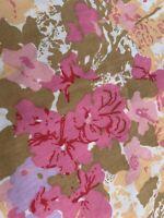 Vintage Flat Sheet Floral Flower Power Flat Sheet Hippie Boho Sewing Pinks Orang
