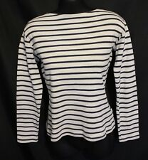 PETIT BATEAU ~ Girls White & Navy Blue Breton Stripe Cotton Boat Neck Top 14