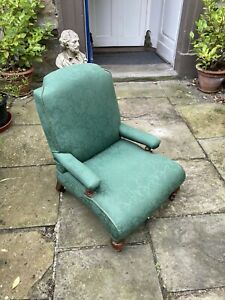 Victorian mahogany green damask nursing chair