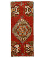 1x3 Vintage Hand Knotted Oriental Wool Geometric Medallion Traditional Area Rug