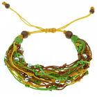 Bracelet Femme cordons coton enduit ciré marron jaune vert perles argentées