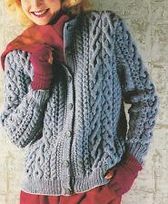 """Richly Cabled Round Neck Raglan Aran Jacket/Cardigan 32""""- 42"""" - Knitting Pattern"""