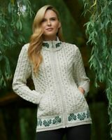Aran Crafts Merino Wool Shamrock Zip Cardigan Sweater x4758 - Made in Ireland