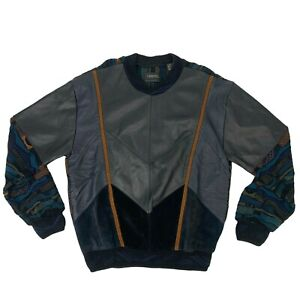 Saxony Leather Acrylic Sweater Mens Size L Hip Hop 80s Retro Crew Neck Pullover