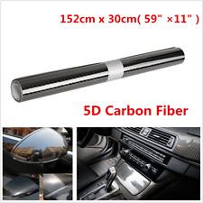 30x152cm PVC 5D Carbon Fiber Vinyl Foil Film Car Wrap Roll Sticker Decal Black