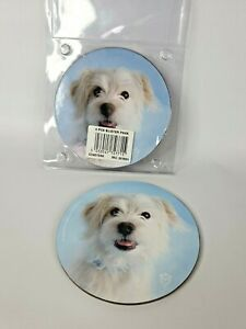 """Rachael Hale 5"""" Maltese Dog or Puppy Coasters 4 pack - Dog Lovers Gift"""