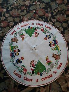 "Vintage Embroidered Sequined White Felt Christmas Tree Skirt 36"" Diameter"
