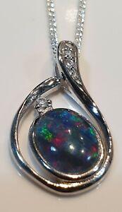 Natural Black Triplet Opal Pendant - Electric Colours - 925 s/s Valuation:$2000