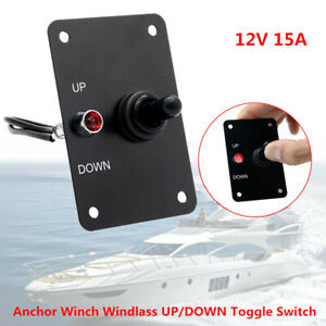 15A Anchor Winch Windlass UP/DOWN Toggle Switch Control Panel with LED Pre-Wired