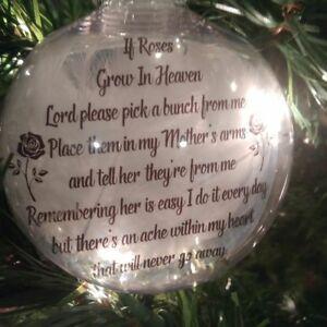 Roses Grown In Heaven Memory ornament,  keepsake, death memorial, Christmas