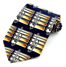 Gold Bars Mens Necktie Music Blue Necktie Treble G Clef Musician Gift New