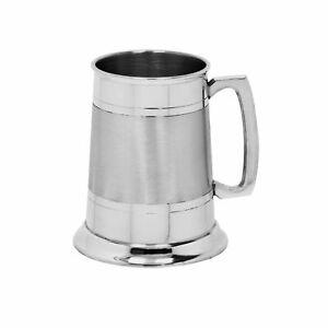 NEW BRITISH PEWTER 2 LINE BAND TANKARD Beer Stein Mug Bar Gift ONE PINT