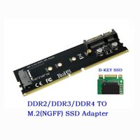 DDR2 DDR3 DDR4 to M2 SSD Adapter M.2 B Key Riser Card Support 2242 2260 2280