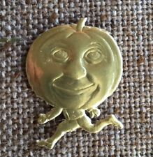 Vintage Style German Gold Foiled Pumpkin Man Halloween Cardboard Decoration