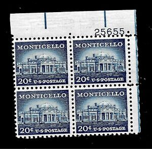 US 1954 Sc# 1047 20 c Monticello Mint NH Plate Block of 4 - Vivid Color