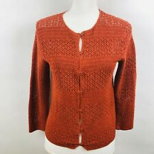 EDDIE BAUER Women's Hand -Crochet Cardigan Button Sweater Sz Small Rust Color