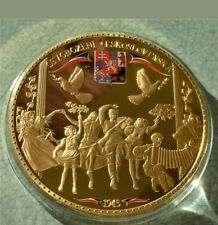 More details for excellent huge 7cm proof gold plated commemorative coin from czechoslovakia