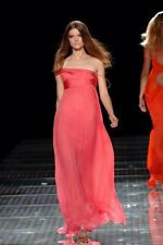 $6790 Versace IT 42 6 S Long Pink Peach Salmon Evening Gown Dress Corset Coral