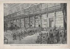 Stampa antica MILANO Biblioteca Braidense Sala Manzoniana 1886 Old antique print
