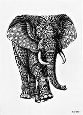 Elefant Mosaik Tier Groß Temporary Temporäre Klebe Einmal Tattoo 15x21cm KM40