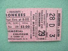 MONKEES - Original 1966 Ticket Stub - Winston Salem N.C. - 12/29/66