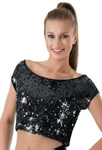 Dance Costume Small Medium Adult Black Sequin Crop Top Jazz Hip Hop Balera