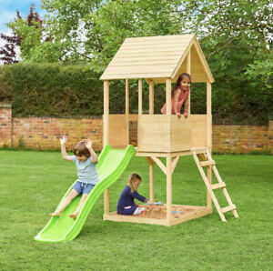 2 Storey Wooden Cubby House With Slide + Sandpit Area Outdoor Fun