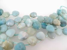 Amazonite faceted flat briolette beads 13x13x6mm. Half strand 15 beads