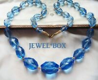 ANTIQUE ART DECO CORNFLOWER BLUE FACET CRYSTAL HAND KNOTTED LARGE BEADS NECKLACE