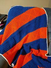Blue and Orange Crochet Throw Blanket