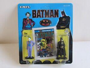 BATMAN & JOKER Diecast Metal Figures (ERTL 1990) unpunched NM