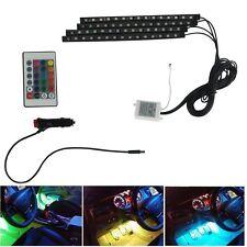 4pcs 15LED Remote Control Colorful RGB Car Interior Floor Atmosphere Light Strip