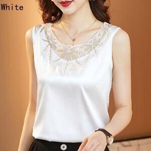 Women Silky Satin Tank Top Embroidery Lace Trim Neck Vest Sleeveless Tee Shirt