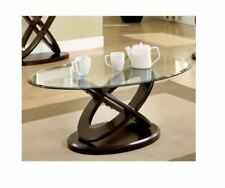 Coffee Table Living Room Oval Glass Furniture Decor Modern Black