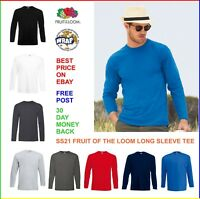 MENS 100% Long Sleeve COTTON T-SHIRT Fruit of the Loom Vale SS21 T Shirt Tee