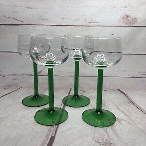 4 Luminarc France Wine Glass Glasses Green Stem Mid Century Vintage