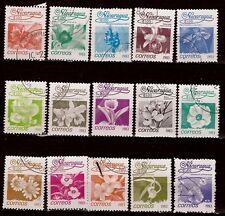 48T2 NICARAGUA Serie de 15 timbres obliteres 1983 :Usages courant ,les fleurs